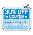 Coupon sale thirty percent discount vector image