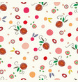 cream pattern with red apples colorful dots vector image vector image