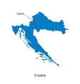 detailed map croatia and capital city zagreb vector image