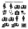 emergency paramedics ambulance icons set vector image
