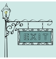 exit text on vintage street sign vector image vector image