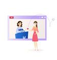 flat young girl watching video idol vector image vector image