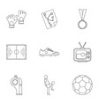 Football things icons set outline style
