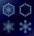 Four blue snowflakes on a dark blue background vector image vector image