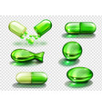 green capsule with vitamin collagen or medicine vector image vector image