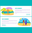 hot summer web poster tropical beach and women vector image vector image