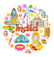 indian culture icons round concept vector image vector image