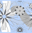 light blue grey and white geometric modern flowers vector image
