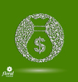 Money bag stylized icon floral banking theme icon vector image