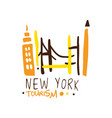 new york tourism logo template hand drawn vector image vector image