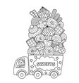 outlined doodle anti-stress coloring book vector image vector image