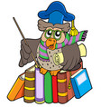 owl teacher with parchment and books vector image