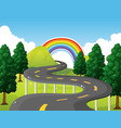 park scene with road and rainbow in background vector image vector image