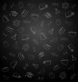 pattern from school elements on dark chalkboard vector image vector image