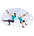 people working out on trx fitness training vector image vector image