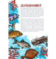 poster of fish catch for sea food maket vector image vector image
