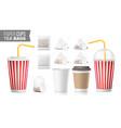realistic blank ocher paper cups tea bags vector image vector image
