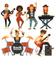 rock music band singer bass guitarist and vector image vector image