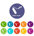roller brush icons set color vector image