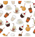 seamless background a set drinks pastries vector image vector image