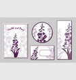 set cards and cards with silhouettes vector image vector image