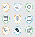 set of 9 ecommerce icons includes cardboard vector image vector image
