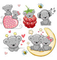 set of cute cartoon teddy bear vector image vector image