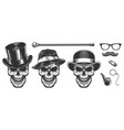 set of gentlemen skulls vector image