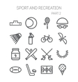 set simple icons for sport recreation web vector image