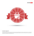 shopping cart and plus sign - red ribbon banner vector image vector image