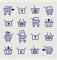shopping cart or trolley sketch icons vector image vector image