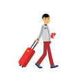 smiling man tourist character pulling travel vector image