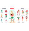 sunstroke infographic female character heatstroke vector image vector image