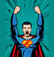 superhero strong cartoon in pop art retro comic vector image