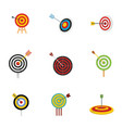 target with arrow icons set flat style vector image vector image