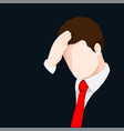 upset businessman clutching his head- vector image