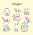 variety cute bunny cartoons vector image vector image