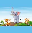 wild animals walking on road vector image vector image