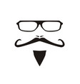 with men face mustache and glass vector image
