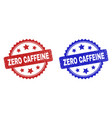 zero caffeine rosette stamps with scratched vector image vector image