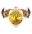 autumn owls with tree vector image