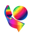 3D arrows and sphere rainbow vector image vector image