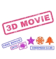 3D Movie Rubber Stamp vector image vector image