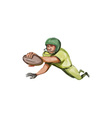 American Football Player Touchdown Caricature vector image vector image