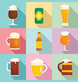 beer bottles glass icons set flat style vector image