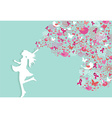 Breast cancer healthy woman silhouette pink ribbon vector image vector image