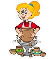 cartoon pottery girl vector image