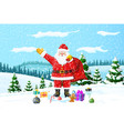 christmas background santa claus with bag gifts vector image vector image