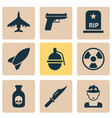 combat icons set with knife grenade poison and vector image