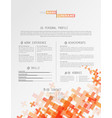 creative simple cv template with grey plus signs vector image